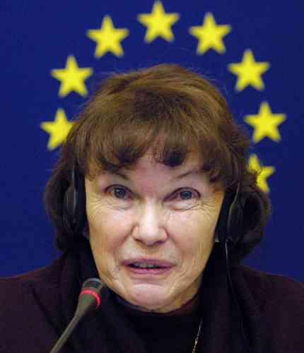 Alors que Gilbert, son fils cadet, fait campagne pour le oui à la constitution européenne, Danielle Mitterrand se positionne contre.