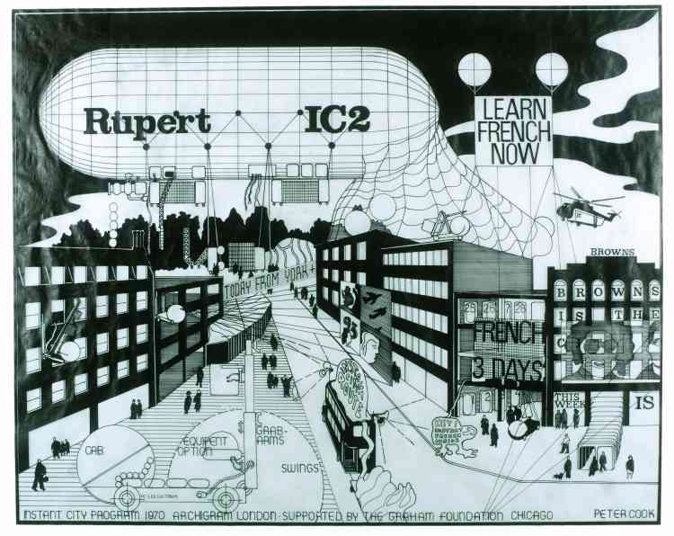 """Peter Cook (Archigram), """"Instant City (Rupert IC 2), Airship Sequence of Effect of an English Town"""", 1969, encre sur calque, 45,5 × 57 cm."""