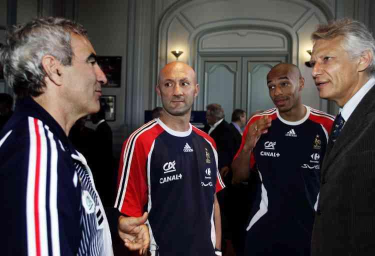 Fabien Barthez et Thierry Henry, le 28 mai 2006 à l'Elysée.
