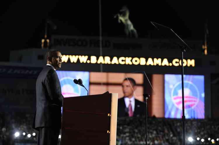 Barack Obama lors de son discours à la convention démocrate, jeudi 28 août.