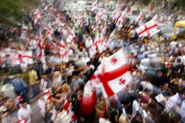 Manifestation à Tbilissi, en Géorgie.