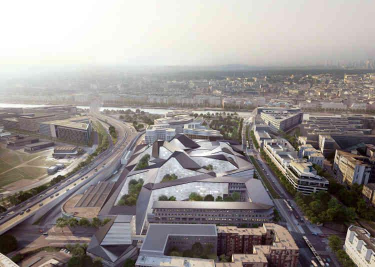 Projet Opale (Wilmotte/Bouygues). Vue du futur ministère, entre le périphérique et le boulevard Victor, Paris 15ème.