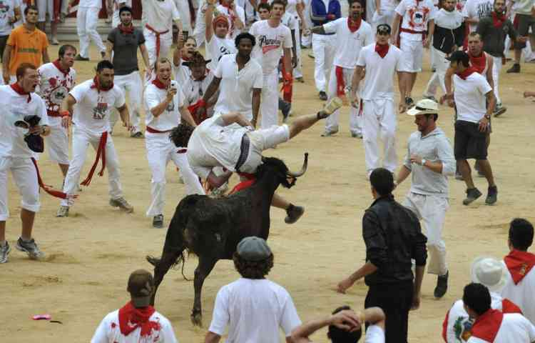 A runner is tossed by a wild cow during festivities in the bullring following the fifth running of the bulls in Pamplona July 11, 2012. Several runners suffered light injuries in a run that lasted three minutes and twelve seconds, according to local media. REUTERS/Eloy Alonso (SPAIN - Tags: ANIMALS SOCIETY)