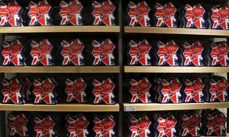 Olympic souvenirs are pictured at a department store outside the London 2012 Olympic Park at Stratford in London July 13, 2012. The London 2012 Olympics run from July 27 to August 12. REUTERS/Fabrizio Bensch (BRITAIN - Tags: SPORT OLYMPICS BUSINESS)