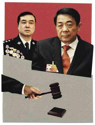 Dans l'ombre de Bo Xilai, l'incorruptible officier de police Wang Lijun. C'est en dévoilant les conclusions de son enquête qu'il a signé la mort politique du maître de Chongqing. Photo : Illustration d'Anthony Zinonos pour M, d'après photos de l'AFP et Mark Ralston/AFP