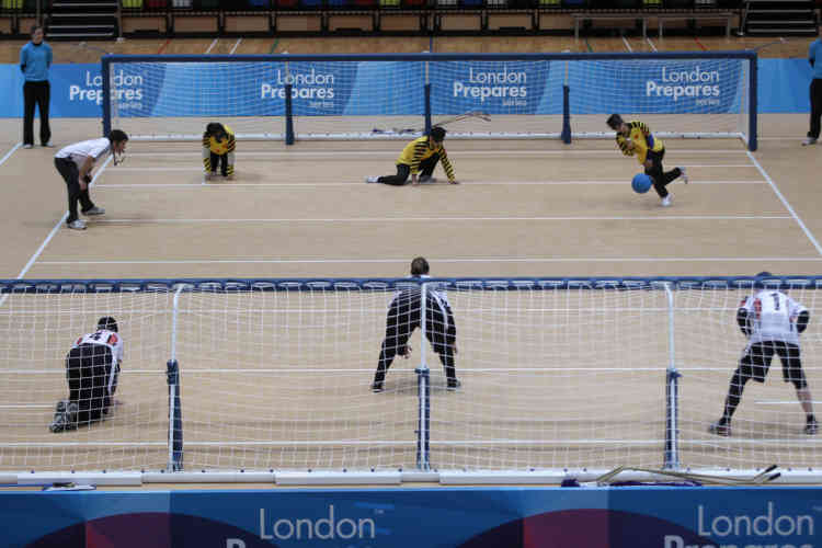 A general view is seen of the court during the semi-final match between China and the U.S. in the London International Goalball Tournament at The Olympic Park in London December 4, 2011.   REUTERS/Eddie Keogh (BRITAIN - Tags: SPORT OLYMPICS)