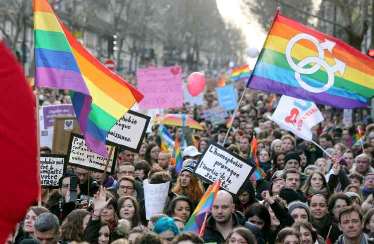 People take part in a demonstration for the legalisation of gay marriage and LGBT (lesbian, gay, bisexual, and transgender) parenting, in Paris on January 27, 2013, two days before a parliamentary debate on the government's controversial marriage equality bill, which will allow gay couples the same rights as their straight counterparts. AFP PHOTO / THOMAS SAMSON