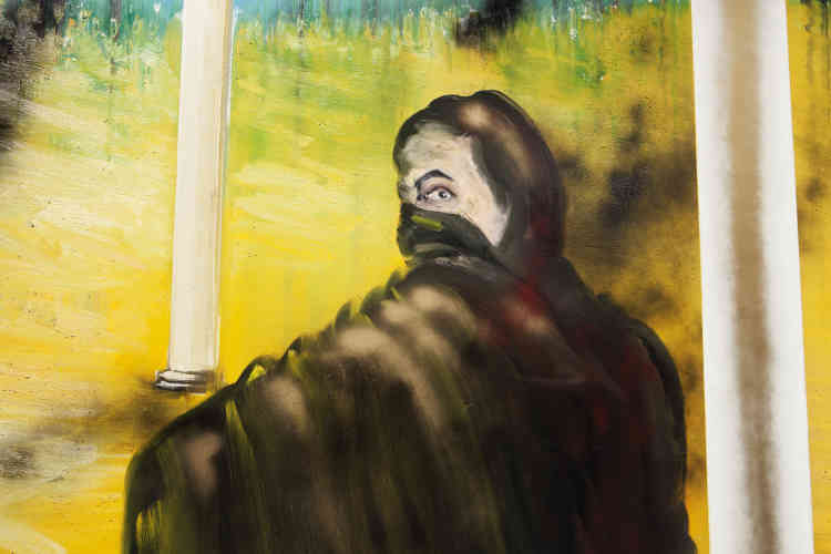 « Dans ce panneau, Stéphane Pencréac'h campe une figure énigmatique. Se retournant presque vers le spectateur, elle le fixe avec insistance. Sa fonction demeure ambigüe, oscillant entre le statut de simple témoin et celui d'acteur muet. L'on peut aussi y reconnaître la figure de l'artiste.»