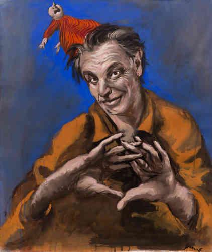 """« Cette gouache est construite sur une suite d'associations d'idées et de formes : d'abord, un jeu de mains puis un jeu de malin puis Méphistophélès puis Wagner, l'alchimiste de Faust qui engendre un """"homoncule"""". Ici, une marionnette qui surgit du cerveau du peintre. Autoportrait, mais aussi jeu dangereux avec la peinture et les figures de l'inconscient. »"""