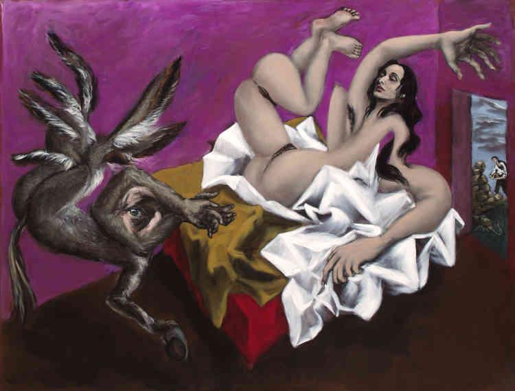 """« Dans ce tableau spectaculaire, à gauche, Monsieur, en hébreu littéralement """"Epaule fils d'âne"""", prend la forme d'un âne mais aussi d'un homme et d'une araignée. Au centre de ce corps hybride, un œil. Cet œil regarde le spectateur qui regarde le sexe, l'anus, les aisselles de Dina. Dina est une force, une énergie mais aussi une virginité violée par cet """"Epaule fils d'âne"""" ainsi que par le désir de voir, par la pulsion scopique du spectateur. Gérard Garouste crée un jeu de regards provocateurs. »"""