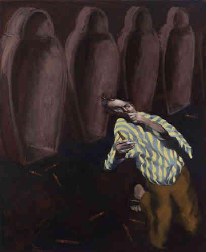 """« Le peintre n'est plus Don Quichotte, mais le voilà Tintin à travers une image subliminale des """"Cigares du Pharaon"""", d'Hergé. Des sarcophages vides, les cigares de Gérard Garouste à terre. Le personnage est traité comme un mirage, une image flottante qui s'échappe du tombeau. Il s'imagine et se déforme dans les volutes d'une hallucination. »"""