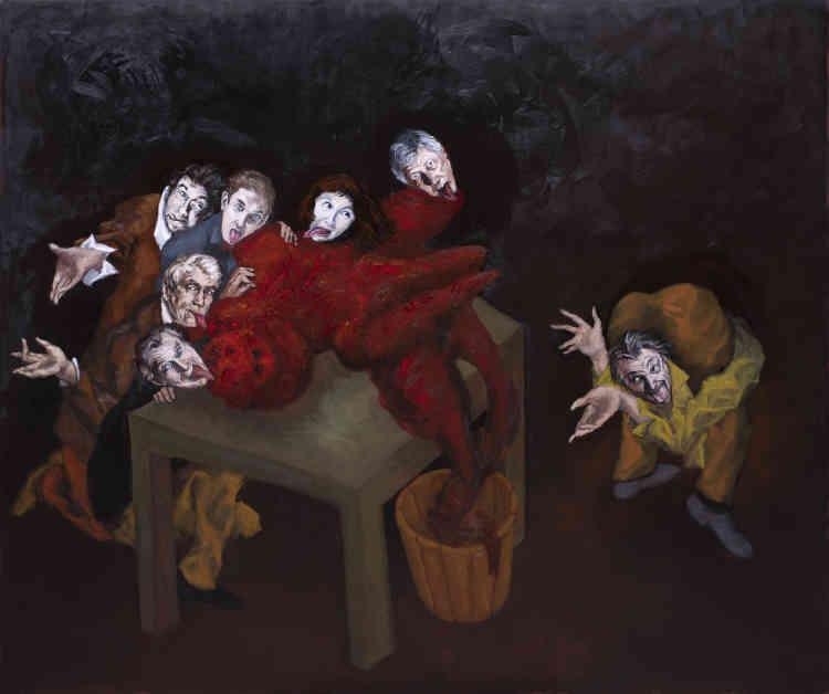 """« La créature rouge est le Golem, créature mythique qui vient de naître de l'imagination et de la main d'un homme, le rabbin Löw, dit le Maharal de Prague. Le Golem est un serviteur qui peut être vivant ou mort selon le mot qui est inscrit sur son front. Dans une nouvelle de Franz Kafka, des personnages lèchent le corps du Golem. Gérard Garouste, avec cette œuvre, prend un malin plaisir à nous mettre devant une énigme, nous proposant d'interpréter cette situation étrange construite par un jeu de mots entre """"la langue et le langage"""". »"""