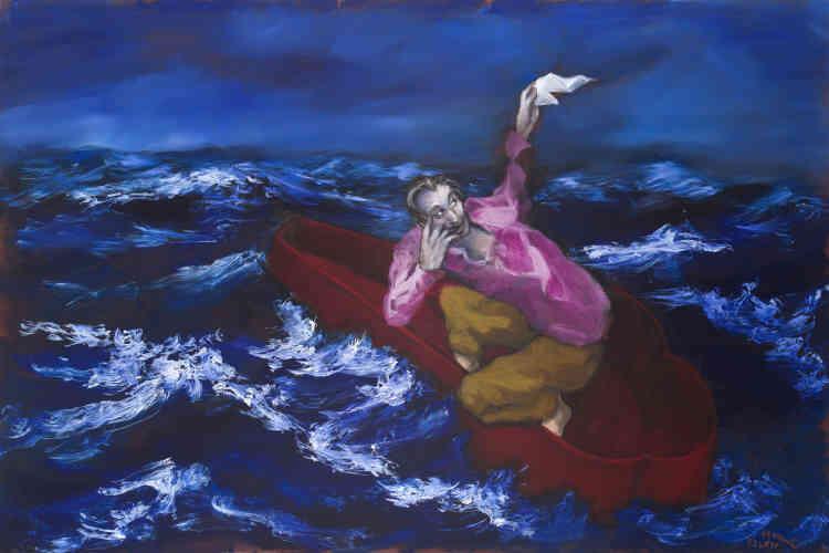 """« A nouveau, une image subliminale des """"Cigares du Pharaon"""" où un personnage tire sa révérence. Il fait signe. Son sarcophage devient sa barque sur l'océan. Il ne déambule plus sur terre comme il le faisait, avec l'âne, mais il se lance dans une """"circumnavigation"""" qui évoque celle de Jonas ou celle des marins d'Herman Melville. »"""