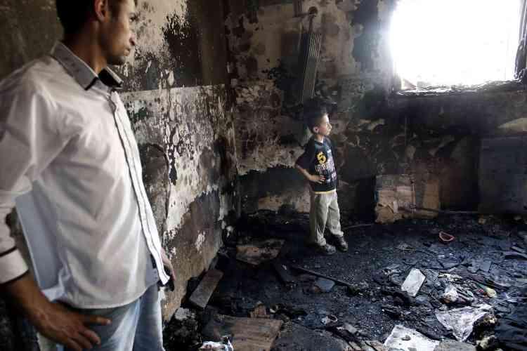 La maison brûlée où le bébé palestinien a péri, dans le village de Douma.