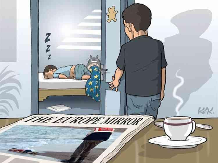 Le dessinateur Kak a lui aussi repris la photo du petit Aylan Kurdi pour un dessin publié dans le journal «L'Opinion».