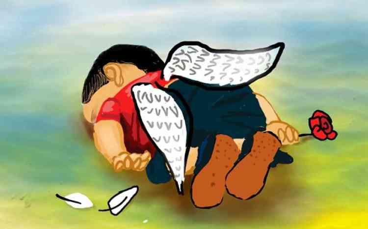 Le dessinateur Islam Gawish a dépeint le petit Aylan sous les traits d'un ange.