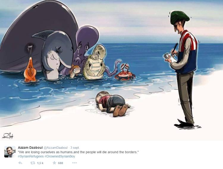 «Nous nous perdons en tant qu'humains, et les gens mourront aux frontières», écrit Azzam Daaboul en publiant ce dessin sur Twitter.