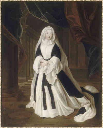 Veuve en 1710, la princesse de Condé est en grand deuil.