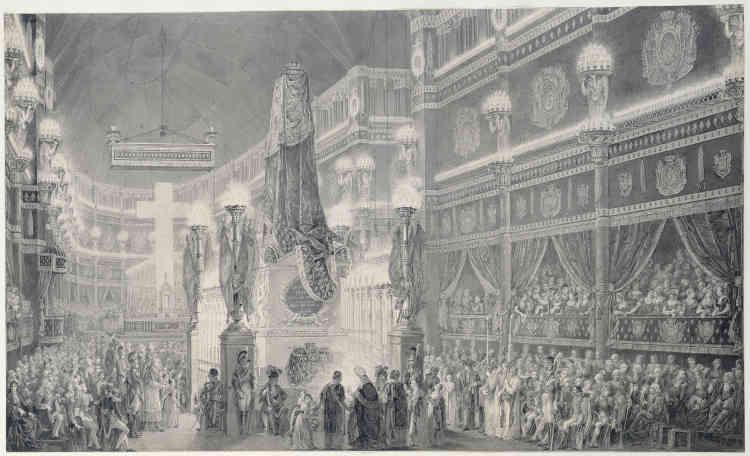 Funérailles du duc de Berry, neveu de Louis XVIII, sur qui reposait la succession des Bourbons. Il fut assassiné, à la sortie de l'Opéra, le 13 février 1820. L'extravagance de la nef de Saint-Denis, avec ses loges drapées de noir autour du cénotaphe, est un décor d'opéra au service de la pompe funèbre. Comme il le fut pour Louis XIV.
