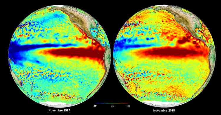 Alors que l'année s'est achevée avec l'accord adopté à Paris par 195 pays à l'issue de la COP21, et un nouveau record pour la température atmosphérique mondiale, les regards des climatologues et météorologues se tournent désormais vers El Niño: cette élévation périodique de la température des eaux dans l'est du Pacifique se traduit par des phénomènes météorologiques extrêmes –sécheresse ici, inondations là, etc. Son étendue actuelle laisse craindre qu'il ne dépasse en intensité celui de 1997-1998, dont les dégâts avaient coûté, selon l'ONU, entre 32 et 96 milliards de dollars (29,5 et 89 milliards d'euros).