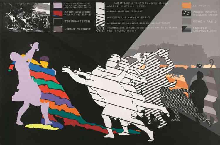 « Dans ce diptyque, Fromanger est saisi par un désir de peinture d'Histoire. Grande machine picturale mettant en rapport un remake d'une peinture d'Histoire du disciple de David, François Topino-Lebrun (1764-1801) et une vue contemporaine du quartier de Pigalle. »