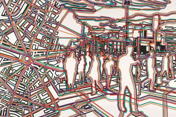 """« Encore, et toujours, ces passants qui traversent la peinture de Fromanger depuis les années 1970. Ces passants de Paris semblent entraînés dans une pratique situationniste de la dérive, qu'il faut considérer comme un aboutissement des errances urbaines des surréalistes (""""Nadja ou Le Paysan de Paris""""). »"""