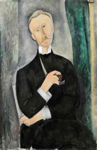 « Collectionneur visionnaire, Roger Dutilleul découvre la peinture de Modigliani en 1917. En juin 1919, il fait trois séances de pose, pour une durée totale de 7 h 30,  pour ce portrait en forme d'hommage. »