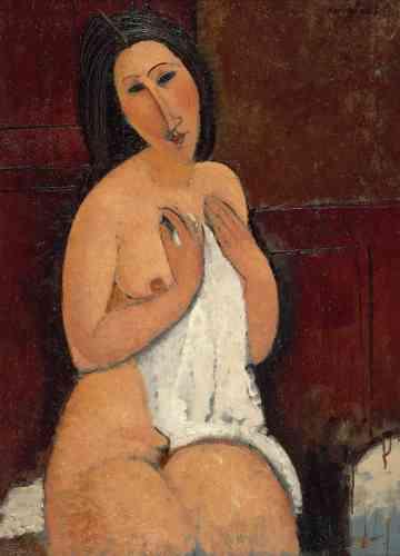 « C'est Léopold Zborowski qui demande à Modigliani de réaliser des nus. Celui-ci joue à la fois sur la sensualité de la touche appliquée sur le corps du modèle et l'aspect irréel du visage réalisé comme un masque. »