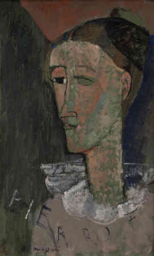 « Cette peinture est l'un des rares autoportraits de Modigliani. Il s'est représenté dans le costume à collerette de Pierrot, personnage mélancolique de la commedia dell'arte. Son nom est tracé dans le bas du tableau, peut-être en hommage aux peintres cubistes, notamment Picasso, qui s'identifiait aussi au monde des saltimbanques. »