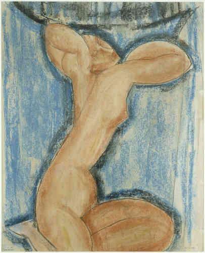 « Visiteur assidu des musées du Trocadéro, Amedeo Modigliani y découvre l'art khmer dont l'influence est très présente dans cette cariatide : la torsion marquée du corps, le mouvement quasi chorégraphique de la pose et la sensualité de la figure rappellent les reliefs en pierre des temples d'Angkor. »
