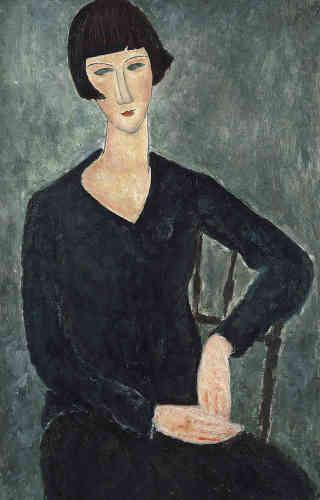 « Cette jeune femme est probablement l'épouse de Léonard Foujita, peintre et ami de Modigliani. Modigliani fait son portrait pendant l'été 1918 lors d'un séjour à Cagnes-sur-Mer. »