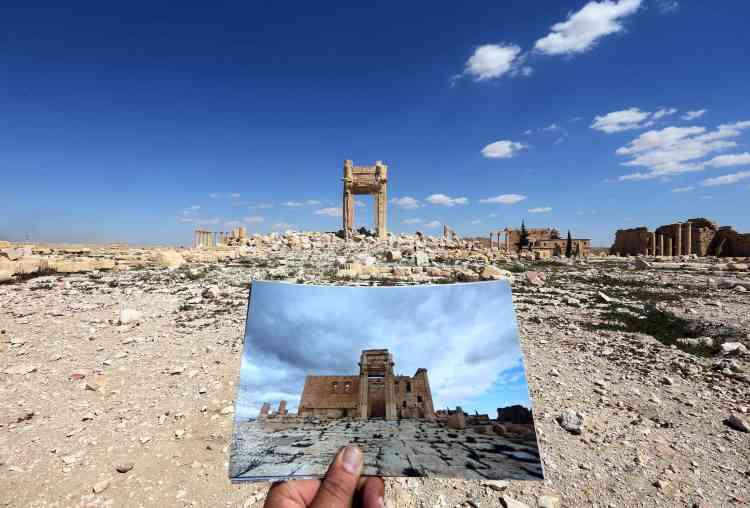 """La """"cella"""", partie fermée et la plus importante du temple de Bêl, le plus beau monument de la cité antique, n'est plus qu'un amas de gravats depuis que l'organisation Etat islamique l'a fait exploser en août 2015."""