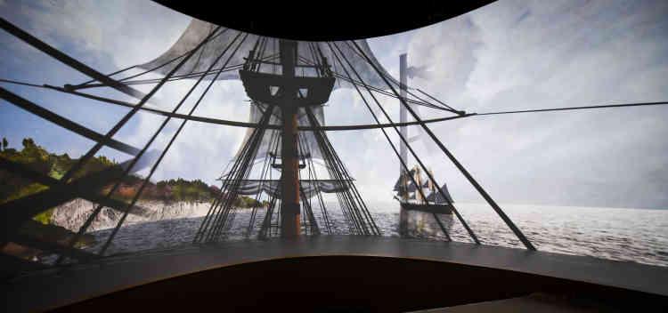 La voûte en bois du tore rappelle la charpente d'un bateau et ressemble à une grande nef.