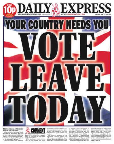 Comme la plupart des journaux du pays, le «Daily Express»ne passe pas par quatre chemins et appelle à voter en faveur du «Brexit».« Votez pour le départ aujourd'hui»,« votre pays a besoin de vous», estime le quotidien.