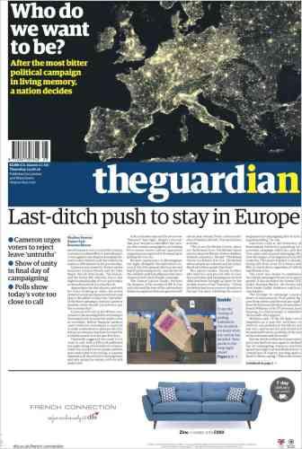 « Qui voulons-nous être ?», s'interroge le quotidien «The Guardian», qui fait partie des rares titres à appeler à voter« In» ce jeudi.« Après la campagne politique la plus amère de mémoire d'homme, une nation tout entière fait un choix.»