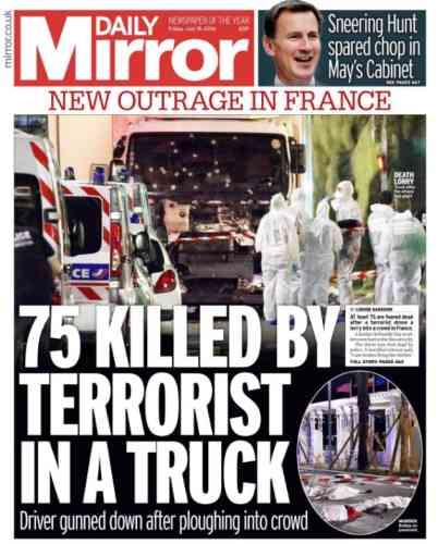 Le tabloïd britannique« The Daily Mirror».