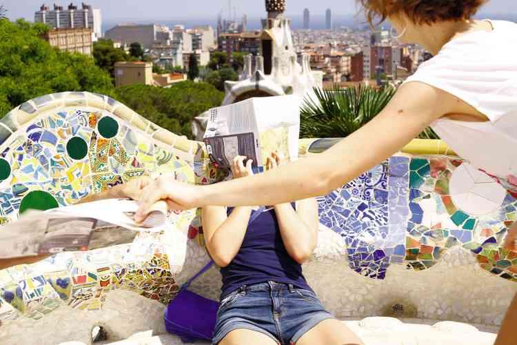 Au parc Güell, dessiné par Gaudí.