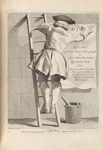 La série d'étudesdes «Cris de Paris» met en scène les petits métiers. Ces dessins seront gravés à l'eau forte par son ami, le comte de Caylus.