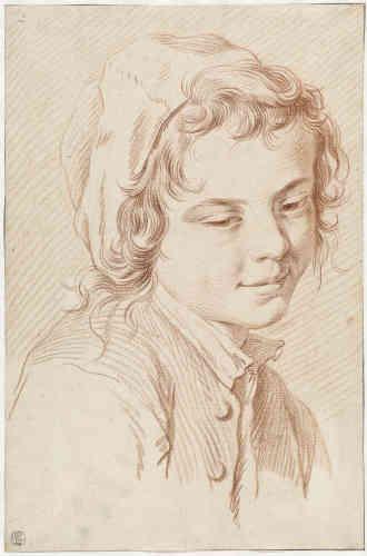 La douceur rieuse de l'enfant, le traitement minutieux des boucles de cheveux, comme la veste brossée à gros traits, montrent que le dessinateur maîtrise tous les registres.