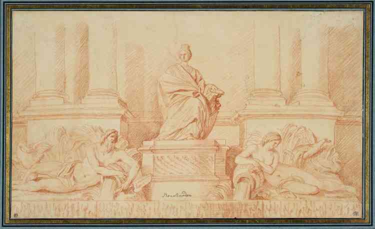 Le groupe central représente la Ville de Paris sous l'apparence en majesté d'une femme, entourée de deux figures couchées, la Seine et la Marne.