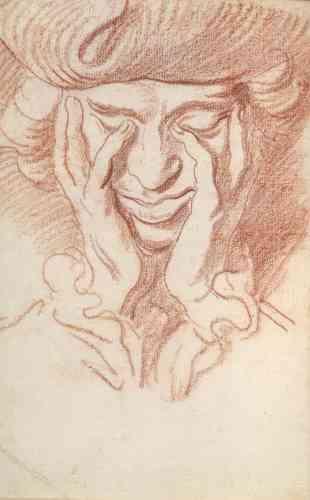 Ce portrait à la sanguine, au trait vif et rapide, avec son tricorne comme l'affectionnait Bouchardon, serait un autoportrait. Ilprovient d'un carnet de dessins « Vade mecum», en partie réalisés à Rome vers 1730, conservé à The Pierpont Morgan Library à New York.