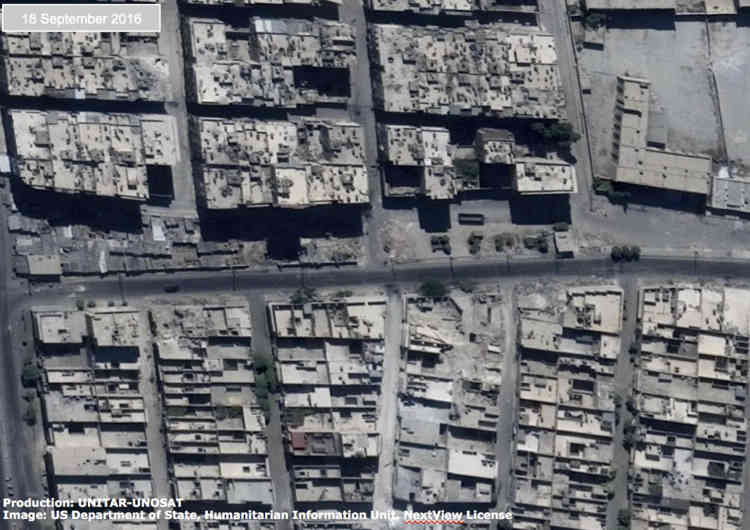Une vue des destructions, dans le quartier de Sha'ar d'Alep, en Syrie, le 18 septembre 2016.
