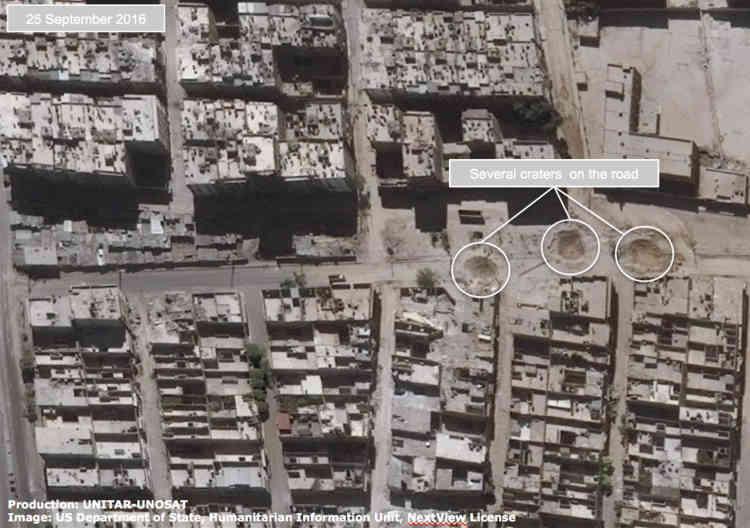 Le même quartier, le 25 septembre.Cette semaine-là, des bombardements ont détruit le principal hôpital des quartiers rebelles assiégés d'Alep-Est, où survivent plus de 250000 habitants.
