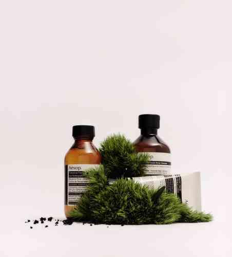 Coffret Intrépidité masculine, gel nettoyant pour le corps, gel nettoyant fabuleux pour le visage, lotion après-rasage, 80 €, Aésop.