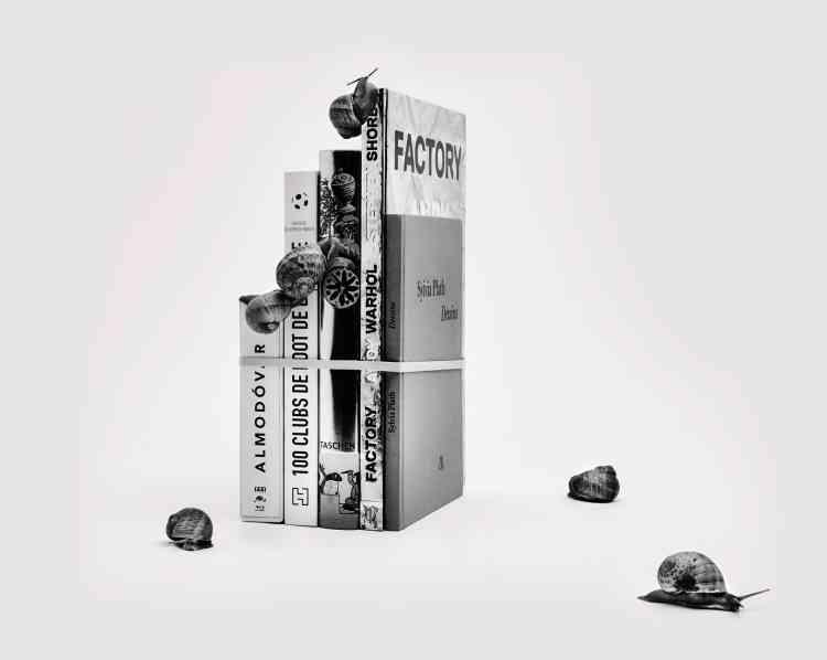 """De gauche à droite, """"Le cinéma d'Almodovar"""" (18 DVD). 119,99 €. TF1 Vidéo et Pathé.«100 clubs de foot de légende», de Gauthier de Hoym de Marien. 34,90€. Hachette Pratique.«Dalí, Les dîners de Gala», 320 P. 49,99 €. Taschen.«FactoryAndy Warhol», de Stephen Shore, 192 P. 49,95 €. Phaidon.«Sylvia Plath, dessins», traduction (anglais) Valérie Rouzeau, 88 p. 22 €. éditions La Table Ronde."""