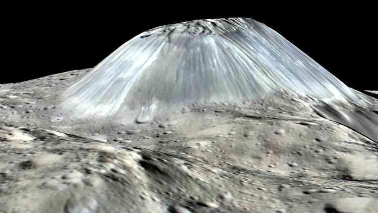 Cette planète naine de 950 kilomètres de diamètre, orbitant entre Mars et Jupiter, a réservé de nombreuses surprises. Dawn, une sonde de la NASA, s'y est mise en orbite à partir de mars2015 et a révélé, notamment, la présence de glace d'eau dans des cratères et sous la surface. Un volcan de laves froides haut de 4 kilomètres et large de 17 a aussi été repéré, le premier dans notre système solaire. 