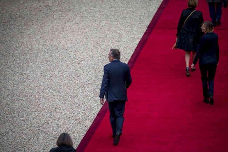 François Bayrou et Marielle de Sarnez arrivent pour la cérémonie d'investiture d'Emmanuel Macron, dimanche 14 mai.