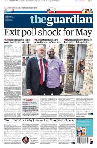 « Sondages de sortie des urnes choc pour May», selon le« Guardian».