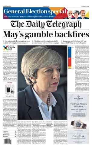Dans son édition suivante, le« Telegraph» estime comme d'autres que le« pari de May s'est retourné contre elle».