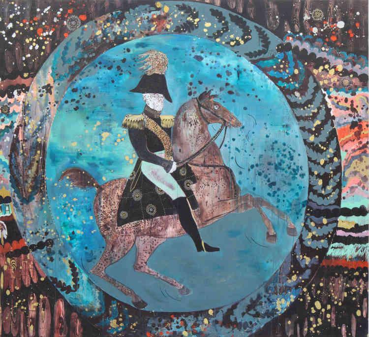 """«Le titre n'est jamais une explication du tableau. Ici, une phrase extraite de """"Madame Bovary"""", pour cette peinture placée dans le """"couloir du goût"""", tapissé d'un tartan plutôt criard. L'idée d'une assiette peinte assez moche et pompeuse, comme une peinture d'Histoire, m'est venue en découvrant les assiettes qu'avait peintes Hubert Robert sous la Terreur alors qu'il était à la prison de Saint-Lazare. J'étais à la fois admirative de cette résistance et en même temps je me disais qu'elles étaient barbouillées de marron, et que c'était bien ainsi.»"""